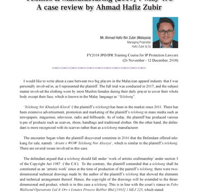 Pasted into A case review by En Hafiz in respect of two big players in the Malaysian apparel industry has been published in Enishi Magazine on page 41 until page 45.